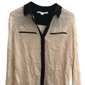 Black and cream silk button-down